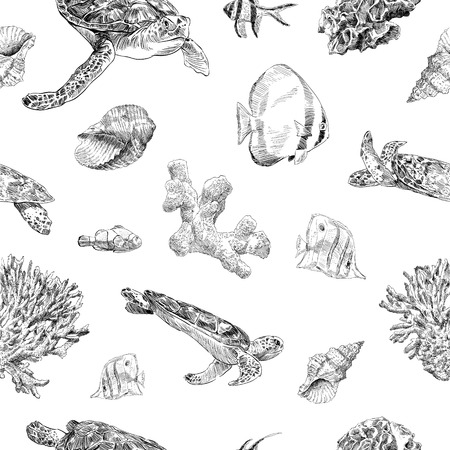 Seamless hand drawn seashells, fish, crabs, corals pattern backgrounds. Marine theme wallpaper. Vector illustration. Çizim