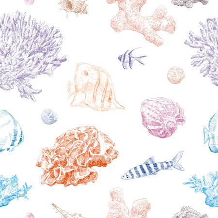 Seamless hand drawn seashells and crabs pattern backgrounds. Marine theme wallpaper. Vector illustration. Illustration