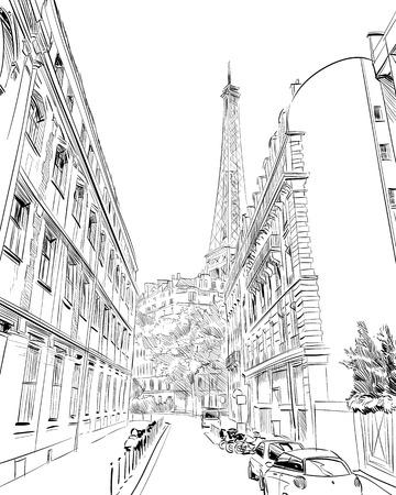 Eiffel Tower vector sketch. Paris, France
