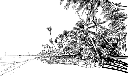 Philippines. Beautiful tropical island. Resort. Sandy beaches with palms. Hand drawn sketch. Vector illustration.