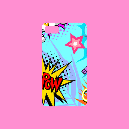 Bright picture, fashionable colors. Comics book style. Pop art design phone cover template. Hand drawn vector illustration. Illustration