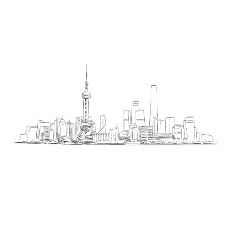 China Shanghai Trendy cover template. Hand drawn sketch. City vector illustration