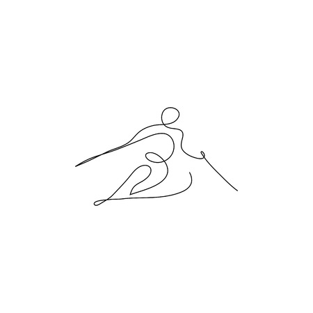 One line skier. Winter sport symbol design. Hand drawn sketch. Vector illustration. 矢量图像