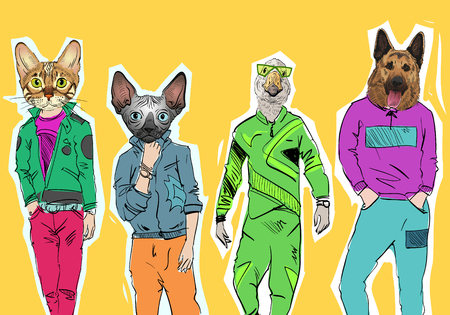 Different fashion models with animal heads set. Modern clothes. Template sketch vector illustration.