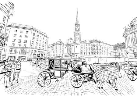 Hofburg palace. St. Michael's Square. Vienna, Austria. Hand drawn sketch vector illustration.