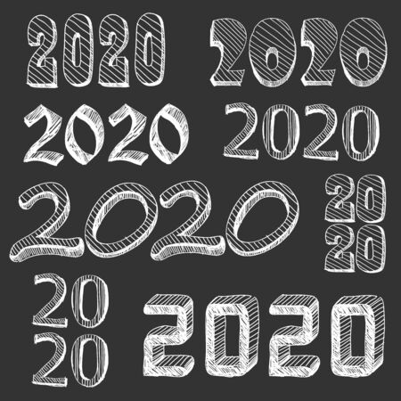 Set of numbers 2020 hand drawn. Comic book explosion elements design.