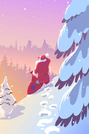 Christmas illustration. Santa Claus goes through the forest and brings presents to the city. Greeting card design template. Holiday backgrounds.