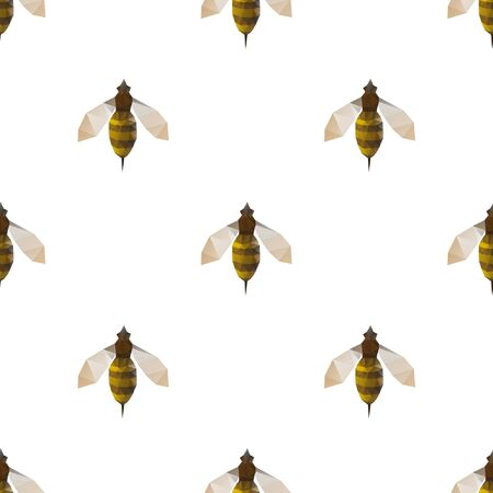 Bee triangle shape seamless pattern backgrounds. Wrapping paper template. Polygonal design illustration.
