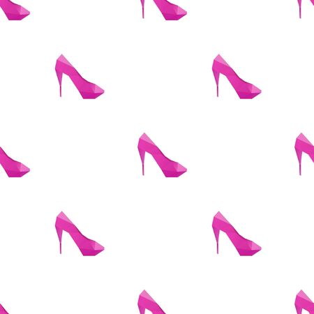 High heel shoes triangle shape seamless pattern backgrounds. Wrapping paper template. Polygonal design illustration.