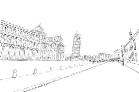 Pisa Cathedral. Leaning tower of Pisa. Pisa. Italy Hand drawn sketch. Vector illustration. Иллюстрация
