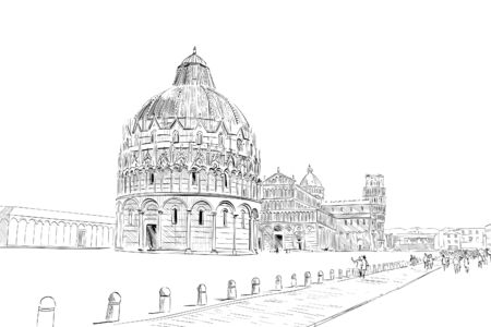 Baptistery in Pisa. Pisa Cathedral. Leaning tower of pisa. Pisa. Italy Hand drawn sketch. Vector illustration.