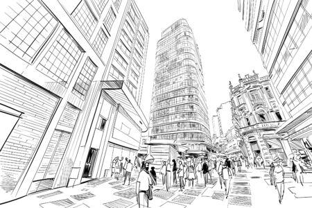 Sao paulo shopping center. Brazil South America Hand drawn city sketch. Vector illustration.