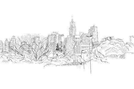 Sao Paulo. Brasil América del Sur Bosquejo de la ciudad dibujada a mano. Ilustración de vector.