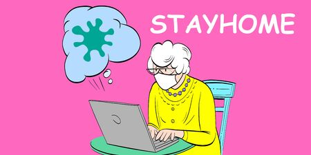 Elderly woman wearing antivirus mask reading news about coronavirus in the Internet and sitting at home during quarantine. Stay home concept. Comics cartoon vector illustration.