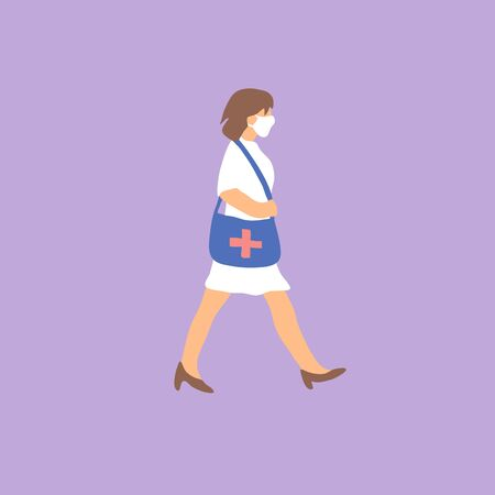 Female doctor walking in antivirus mask. Flat vector illustration.