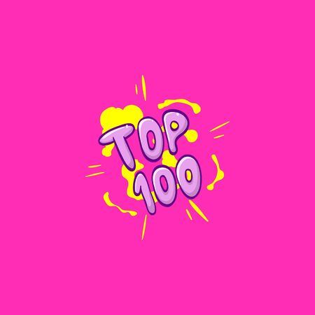 Top 100. The best and the worst. Template design. Blogging concept. Comics boom style. Pop art vector illustration.