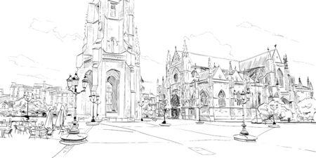 Basilica of Saint-Michel. Bordeaux. France Hand drawn sketch. Vector illustration. Vettoriali