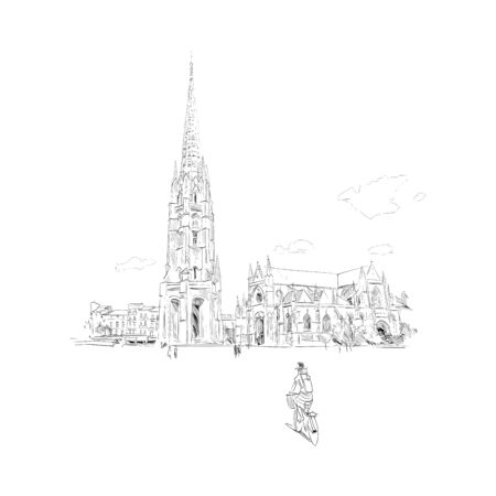 Basilica of Saint-Michel. Bordeaux. France Hand drawn sketch. Vector illustration.