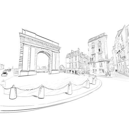Gate of Burgundy. Bordeaux. France Hand drawn sketch. Vector illustration.