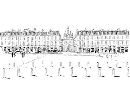 Miroir d'eau. Bordeaux. France Hand drawn sketch. Vector illustration. Vettoriali