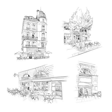 Set of street cafe. Bordeaux. France Hand drawn sketch. Vector illustration.
