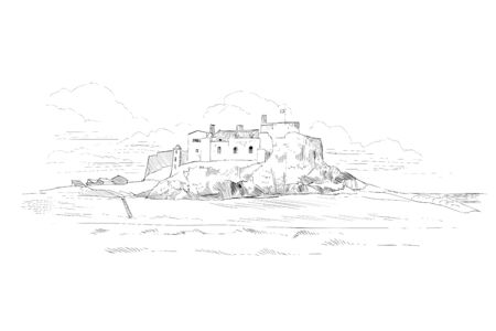 Medieval castle. Europe Hand drawn sketch vector illustration