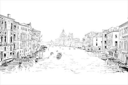 Cathedral of Santa Maria della Salute. Grand canal. Venice. Italy Hand drawn city sketch. Vector illustration.
