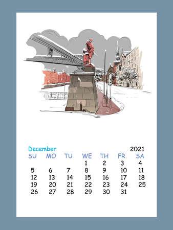 Calendar sheet layout December month 2021 year. Hamburg. Germany. Hand drawn sketch. Vector illustration.