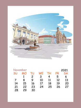 Calendar sheet layout November month 2021 year Church of Frauenkirche. Academy of Fine Arts. Hand drawn sketch. Urban sketch. Vector illustration.