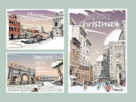 Set of Italy Merry Christmas and New Year greeting card design.Trendy cover template. Winter city. Hand drawn vector illustration Vetores