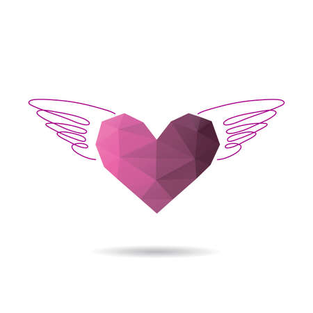 Heart with wings. Valentines day banner, placard, postcard design template. Fashion print vector. Polygonal clip art illustration.