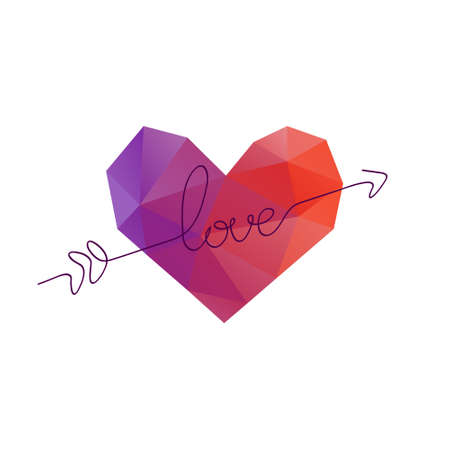 Arrow piercing hearts. Valentines day banner, placard, card template design. Polygonal design clip art. Vector illustration.
