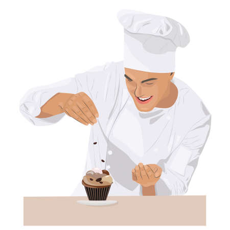Smiling and happy chef. Chef is cooking cupcake with coffee taste.