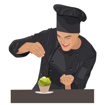 Smiling and happy chef Chef is cooking cupcake Illustration