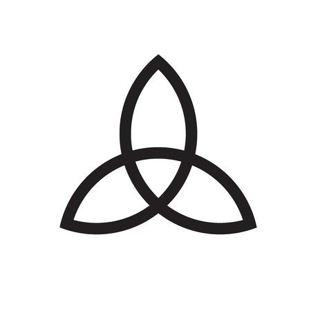 Signo de nudo trinidad celta. Ilustración de línea de vector.