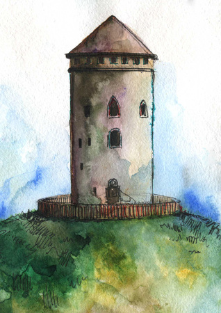 Tower on the hill. Watercolor. Stock Photo