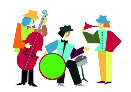 Vector image of music band. Collage style. Colorfull.