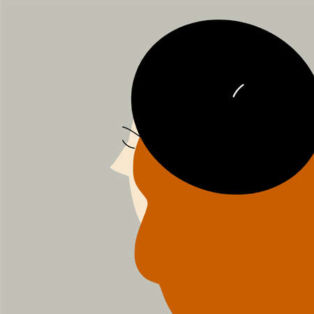 Illustration of girl in the beret. Contour.Vector.