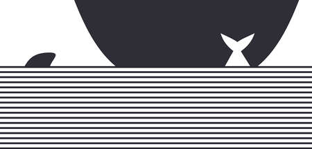Black and white graphic ship. Vector illustration.
