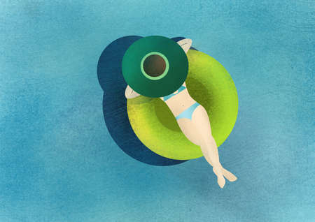 Girl swimming in the green circle. Raster illustration.