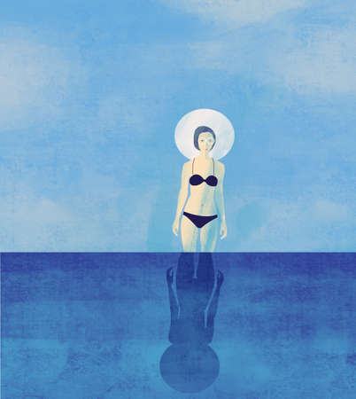 Girl at the sea. Summer, flat, raster illustration