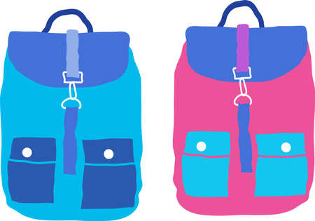 Two childrens backpacks isolated on white. Vector. Illusztráció