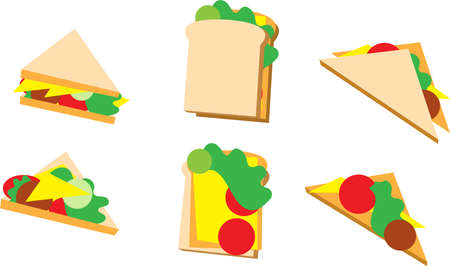 Set of sandwiches isolated on white. Vector illustration Illusztráció