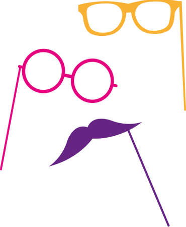 Moustache, glasses on a stick. Vector illustration