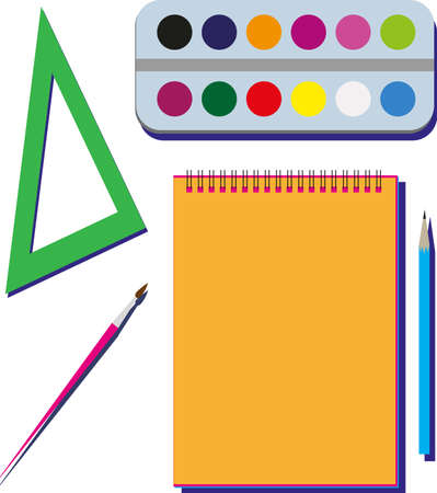 Vector illustration of pencil, triangle, brush, watercolor paints.
