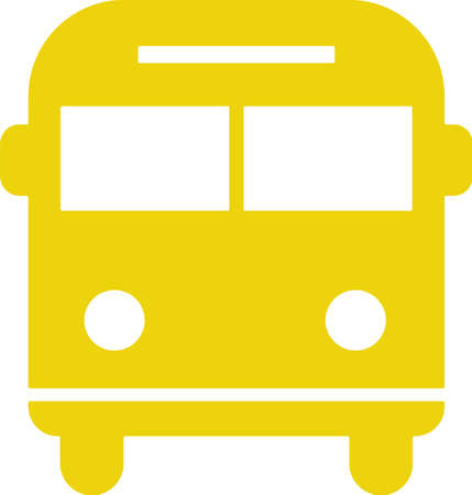 Yellow bus icon isolated on white. Pictogram.