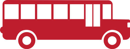 Red bus icon isolated on white. Pictogram.