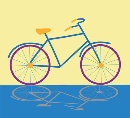 Flat Bicycle with shadow on yellow background