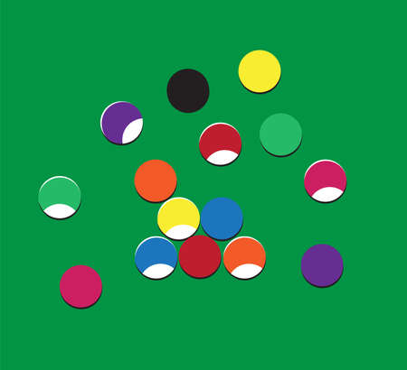 Billiard balls on table with shadow. Flat. Vector. Illusztráció