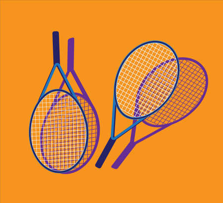 Tennis racket and ball with shadow. Vector. Illusztráció